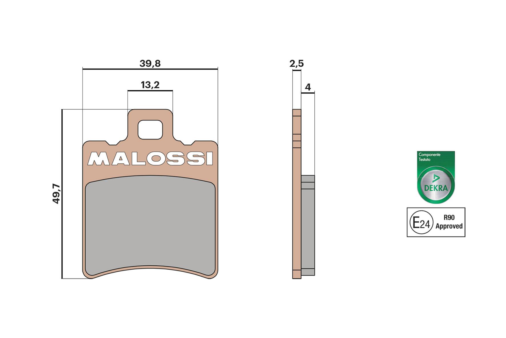 PASTIGLIE FRENO POSTERIORE MALOSSISYNT APRILIA SR STEALTH LC DD 50 1997-1999